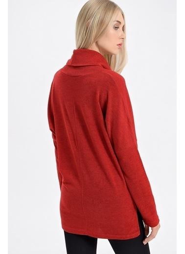 Jument Alba Degaje Yaka Düşük Omuzlu Uzun Kol Salaş Bluz Kırmızı